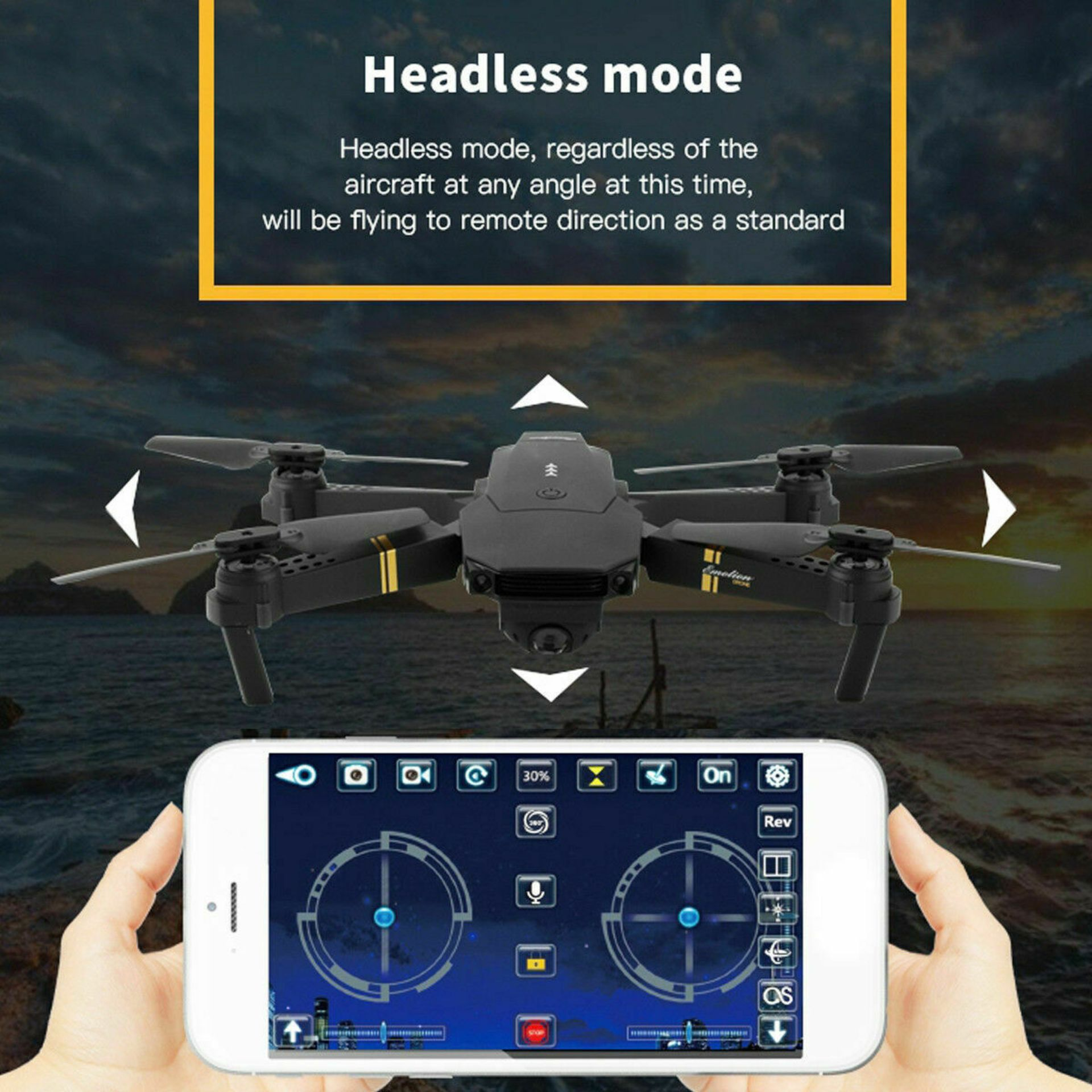 NEW & UNUSED DRONE X PRO WIFI FPV 1080P HD CAMERA FOLDABLE RC QUADCOPTER + BAG *PLUS VAT* - Image 11 of 12