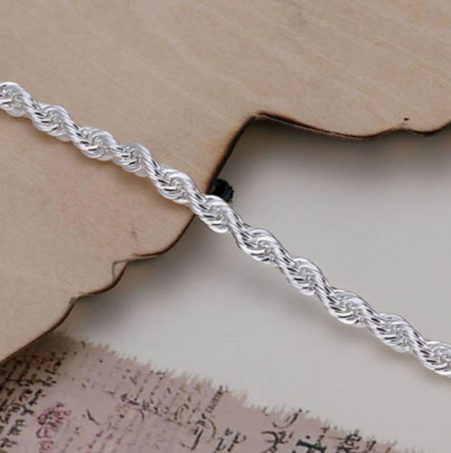 925 Sterling Silver Plated Twisted Rope Bracelet 3mm Thick Chain Link *NO VAT* - Image 4 of 4