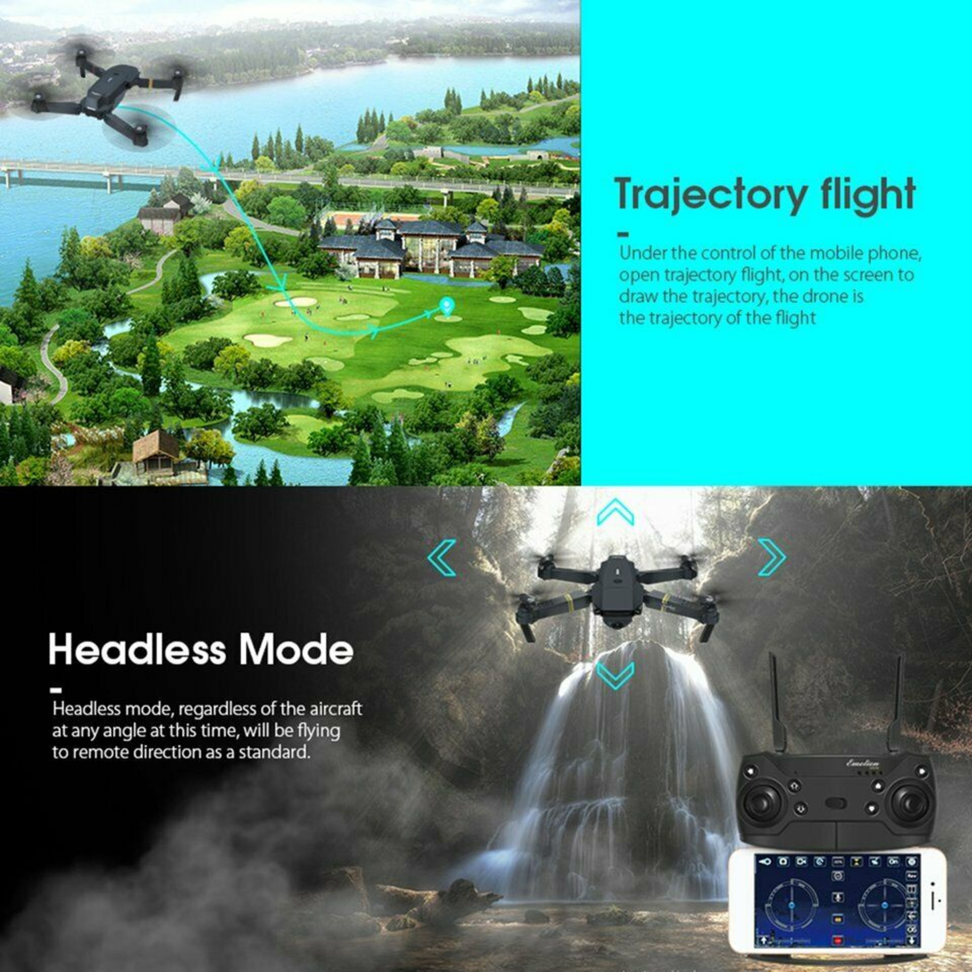 NEW & UNUSED DRONE X PRO WIFI FPV 1080P HD CAMERA FOLDABLE RC QUADCOPTER + BAG *PLUS VAT* - Image 9 of 12