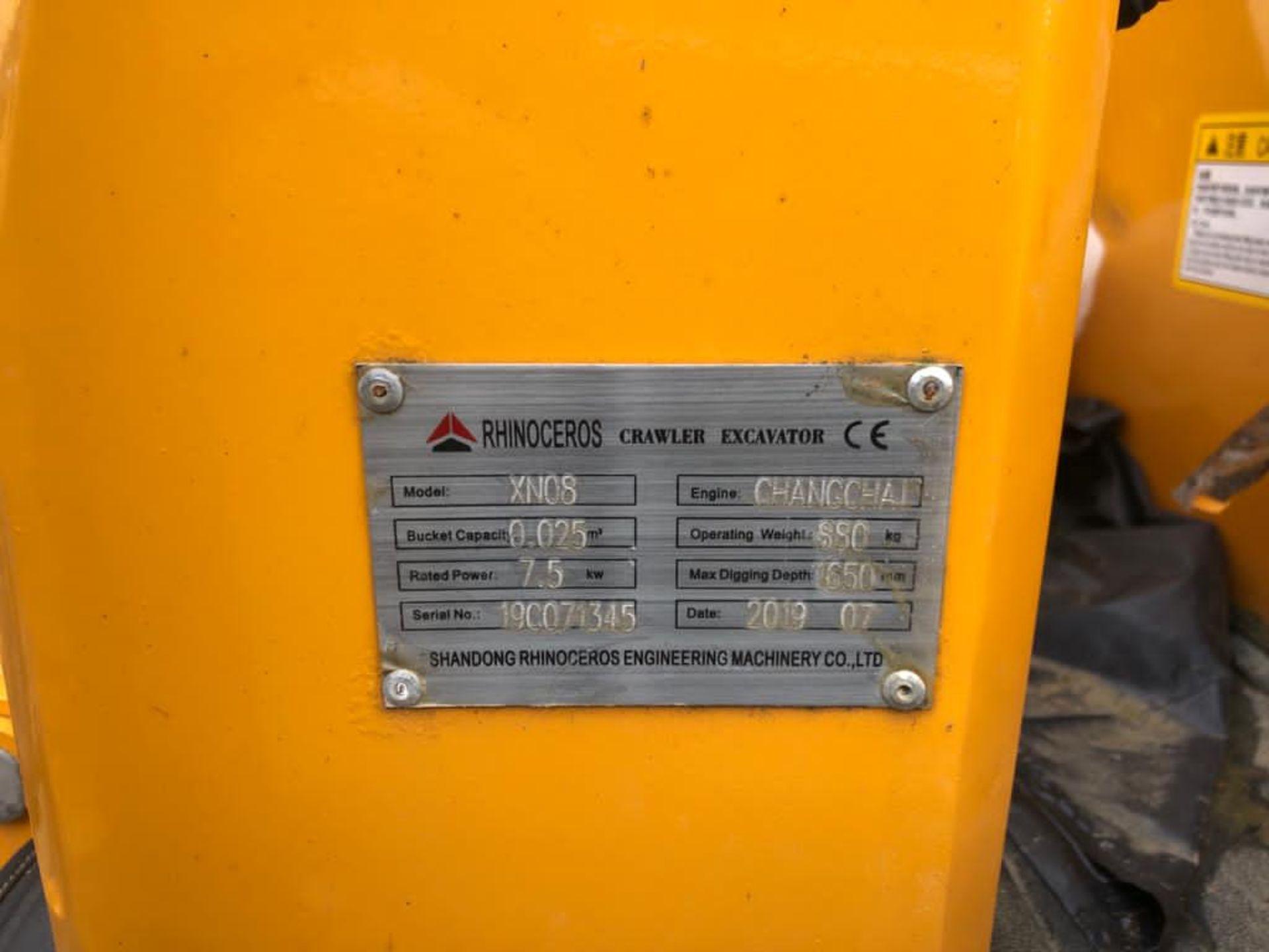 2019 RHINOCEROS XN08 RUBBER TRACKED CRAWLER / MINI DIGGER EXCAVATOR, RUNS AND WORKS *PLUS VAT* - Image 4 of 4
