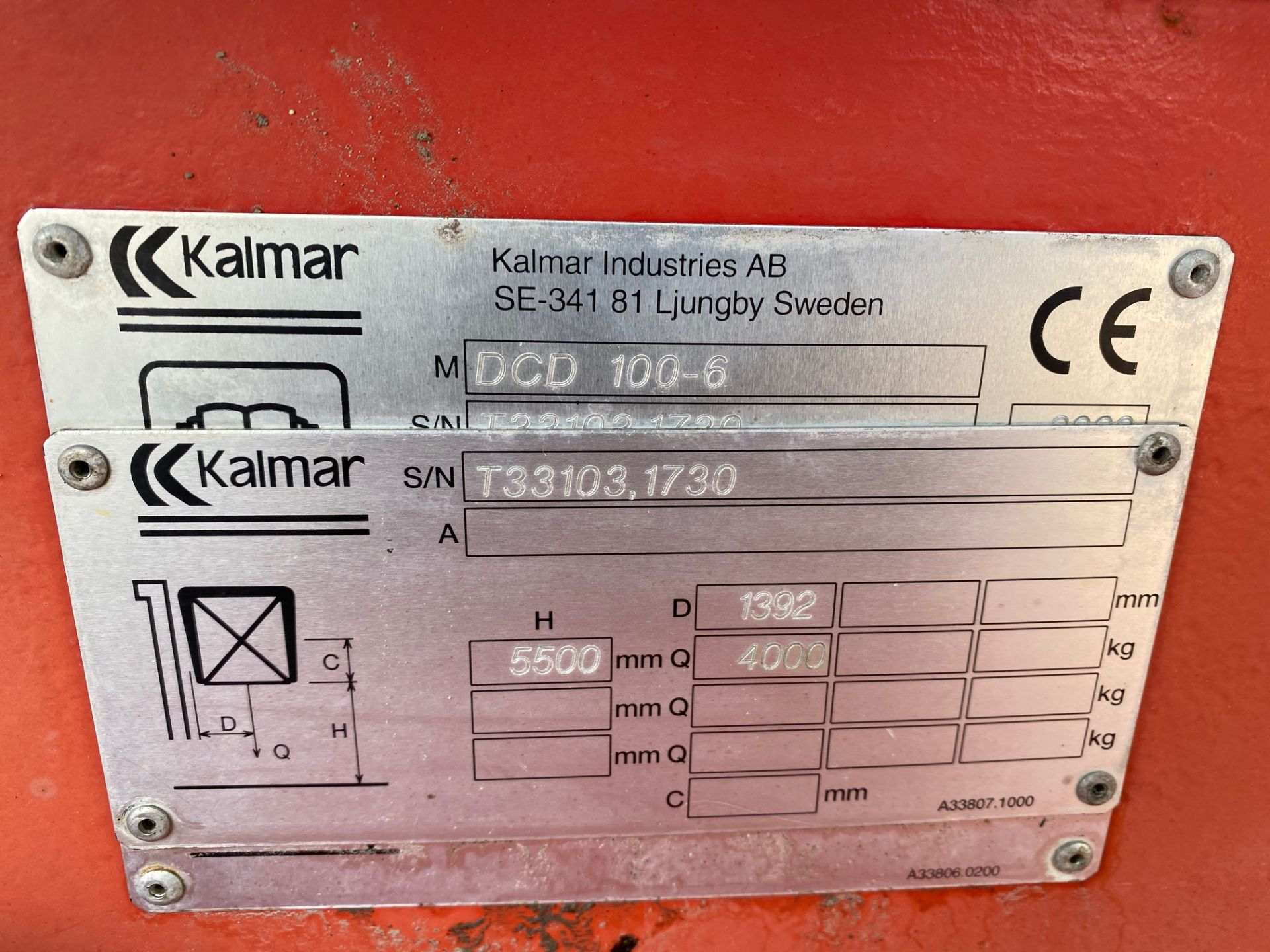 2002 KALMAR DCD100-6 10 TON FORKLIFT, STARTS, DRIVES AND RUNS AS IT SHOULD, THE DOOR IS MISSING - Image 6 of 8