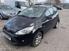 2010 FORD KA STUDIO, BLACK, MANUAL PETROL, 3 DOOR HATCHBACK, 4 PREVIOUS KEEPERS, NO VAT