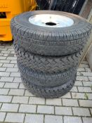 4 X WHITE STEEL WHEELS & TYRES OFF L/ROVER DEFENDER 2009 2 X MICHELIN & 2 AVON RANGEMASTER 7.5 R16C