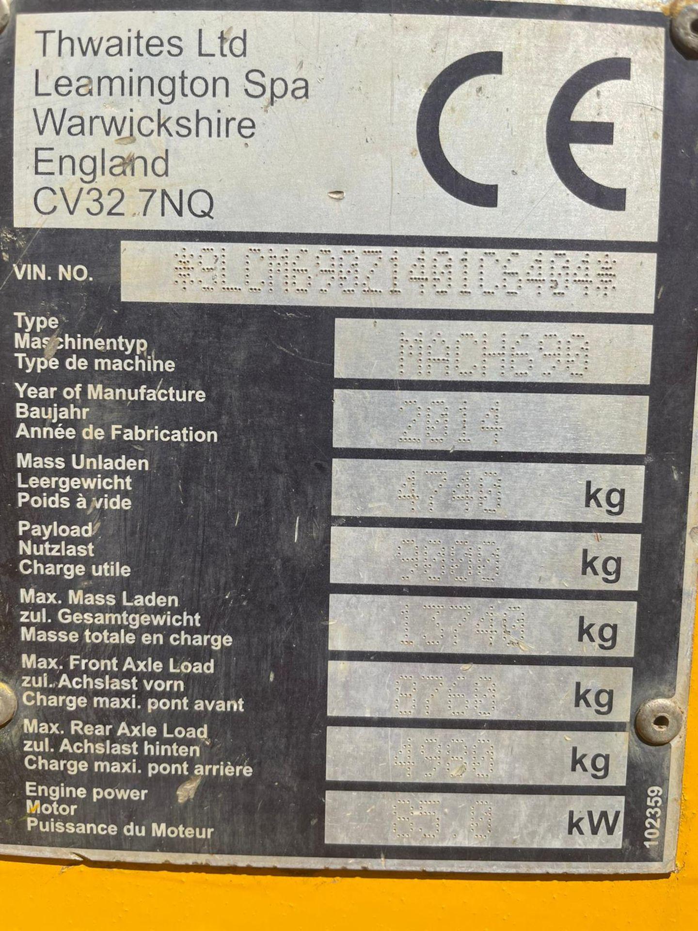 2014 THWAITES 9 TON STRAIGHT TIP DUMPER, 3,104 RECORDED HOURS, 4 WHEEL DRIVE *PLUS VAT* - Image 10 of 10