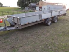 2016 IFOR WILLIAMS LM186G DROPSIDE FLATBED TRAILER WITH WINCH 18ft x 6ft, REMOVABLE SIDES *PLUS VAT*