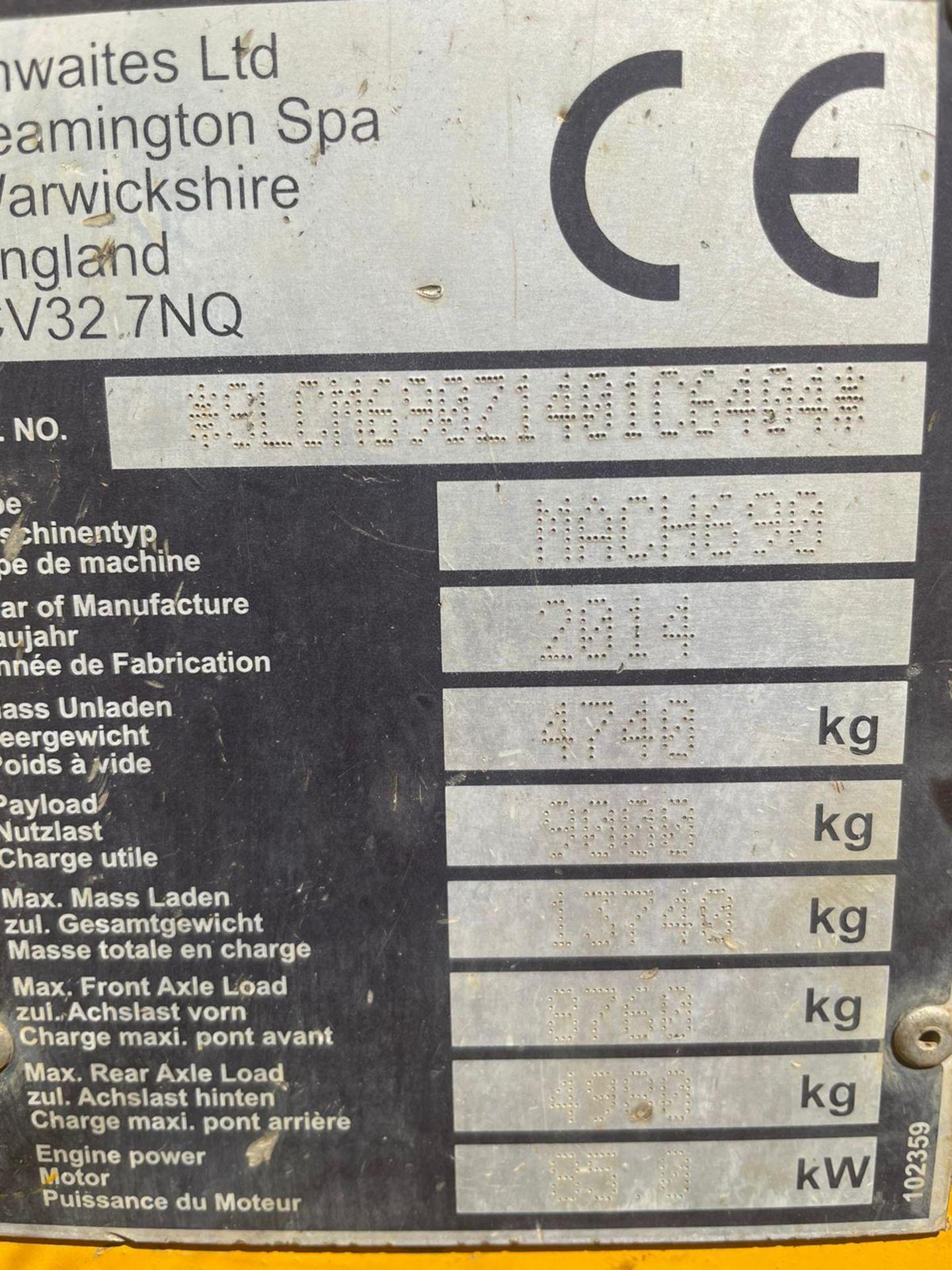 2014 THWAITES 9 TON STRAIGHT TIP DUMPER, 3,104 RECORDED HOURS, 4 WHEEL DRIVE *PLUS VAT* - Image 9 of 10