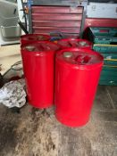 4 RED 25L DRUMS WITH SEALS AND LIDS, BRAND NEW *PLUS VAT*