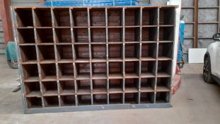 UNIQUE OLD SOLID WOODEN PIGEON HOLE RACKING, 2460mm x 1660mm x 450mm *NO VAT*