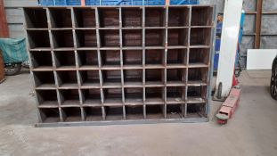 UNIQUE OLD SOLID WOODEN PIGEON HOLE RACKING, 2320mm x 1500mm x 535mm *NO VAT*