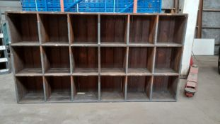 UNIQUE OLD SOLID WOODEN PIGEON HOLE RACKING, 2145mm x 1660mm x 320mm *NO VAT*