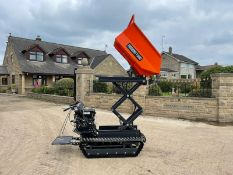 NEW AND UNUSED HOUSER T500 STAND ON / WALK BEHIND TRACKED DUMPER, RUNS DRIVES AND TIPS *PLUS VAT*