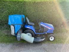 ISEKI SG153 DIESEL RIDE ON MOWER WITH REAR COLLECTOR, SHOWING A LOW AND GENUINE 991 HOURS *PLUS VAT*