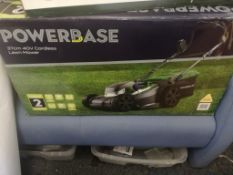 NEW POWERBASE 37cm 40v CORDLESS LAWN MOWER, TESTED WORKING, IN BOX *NO VAT*