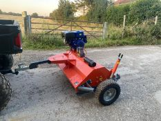 NEW AND UNUSED 1.2 METRE SINGLE AXLE FAST TOW FLAIL MOWER, SUITABLE FOR ATV / UTILITY VEHICLE