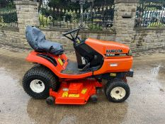 KUBOTA TG1860 DIESEL RIDE ON MOWER, RUNS DRIVES AND CUTS, CUSHION RIDE, A LOW 1294 HOURS *NO VAT*