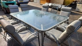 LARGE OUTDOOR / PATIO TABLE, INCLUDING 9 CHAIRS *NO VAT*