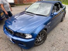 2003 BMW M3 BLUE CONVERTIBLE, 3.2 PETROL ENGINE, SHOWING 120K MILES *NO VAT*