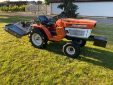 KUBOTA B1400 COMPACT TRACTOR, 2 WHEEL DRIVE, AGRI TYRES COMPLETE WITH FLEMING TOP 3 TOPPER 3'*NO VAT