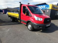2015 FORD TRANSIT 350 RED DROPSIDE, 127K MILES, 14ft BODY WITH TAIL LIFT, 2.2 DIESEL *PLUS VAT*