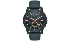 ARMANI EXCHANGE BLUE DIAL MENS SILICONE STRAP WATCH - IN EXCELLENT CONDITION WITH ORIGINAL BOX