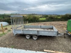 14ft x 7ft GRAHAM EDWARDS BEAVER TAIL TRAILER WITH SPRING LOADED RAMP *NO VAT*