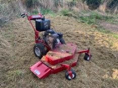 """RED HYDROSTATIC 48"""" WALK BEHIND SELF PROPELLED PETROL MOWER, RUNS DRIVES AND CUTS WELL *PLUS VAT*"""