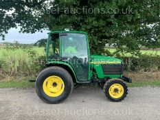 JOHN DEERE 4300 32hp 4WD COMPACT TRACTOR, RUNS DRIVES AND WORKS, CABBED, REAR TOW, ROAD KIT