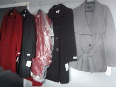 5 NEW LADIES DESIGNER COATS, 4 ANNA KLEIN, 1 INTERNATIONAL CONCEPTS BY MACYS AMERICAN IMPORTS