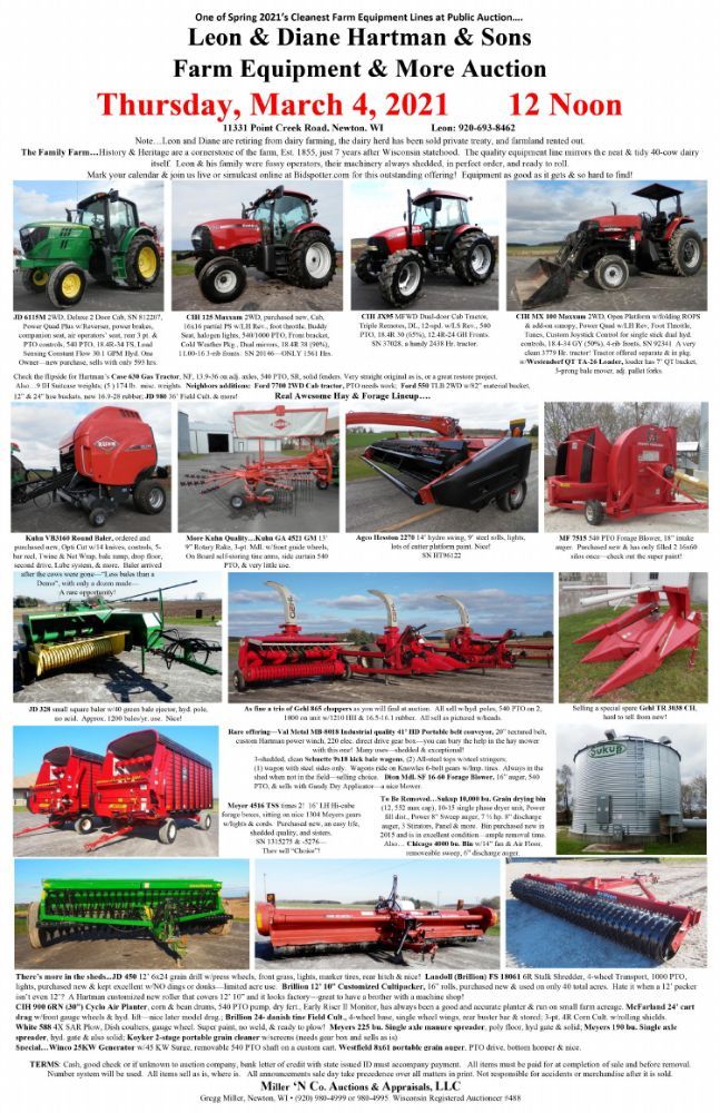 Leon & Diane Hartman & Sons Farm Equipment and More Auction