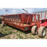 H & S 21' SLANT BAR FEEDER WAGON