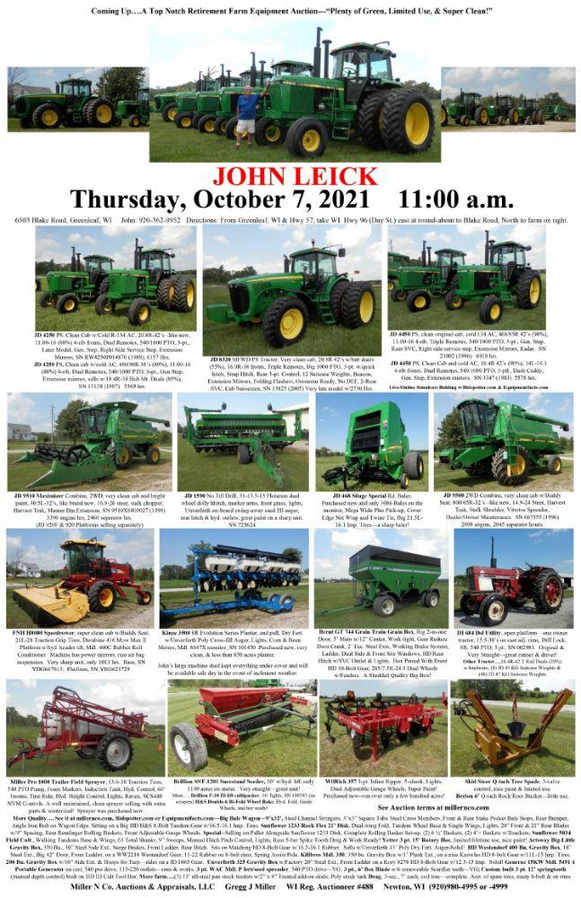 Farm Equipment Auction - John Leick - Plenty of Green, Limited Use, & Super Clean!