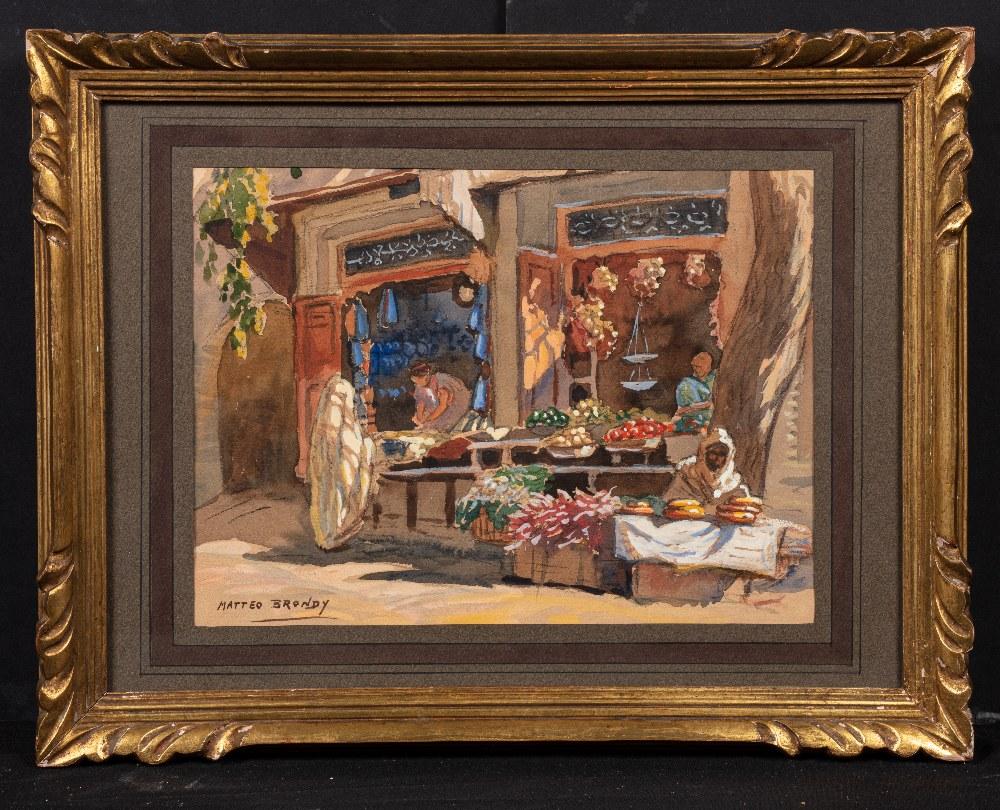 Matteo BRONDY (Paris 1866 - Meknes 1944)Le marchand de légumes (Boutiques)Aquarelle sur trait de - Image 2 of 2