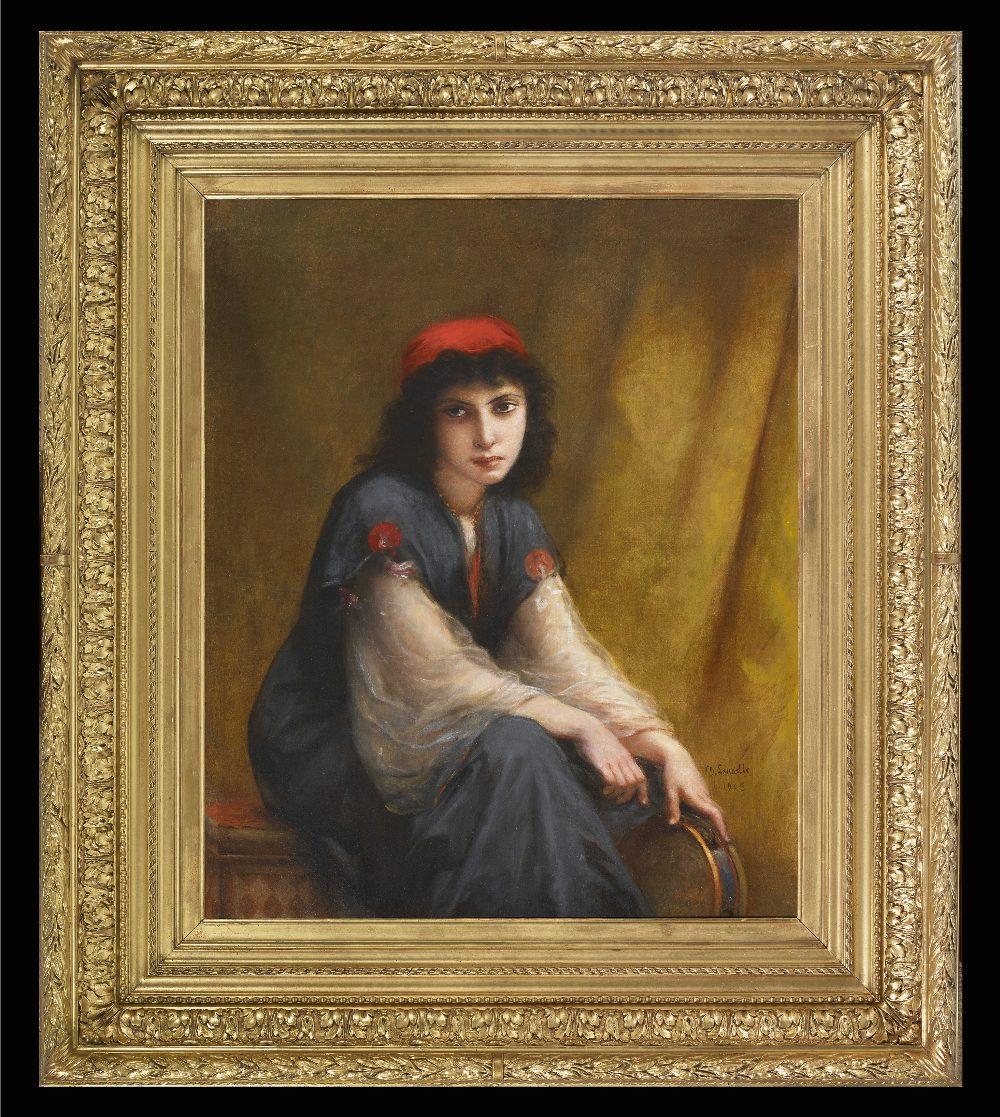 Charles Zacharie LANDELLE (Laval 1821 - Chennevières 1908)Jeune orientale au tambourinHuile sur - Image 2 of 3