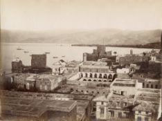 Félix BONFILS (1831-1885) et Dimitri TARAZI (att.)Beyrouth, Baalbek, le Temple de Jupiter, village