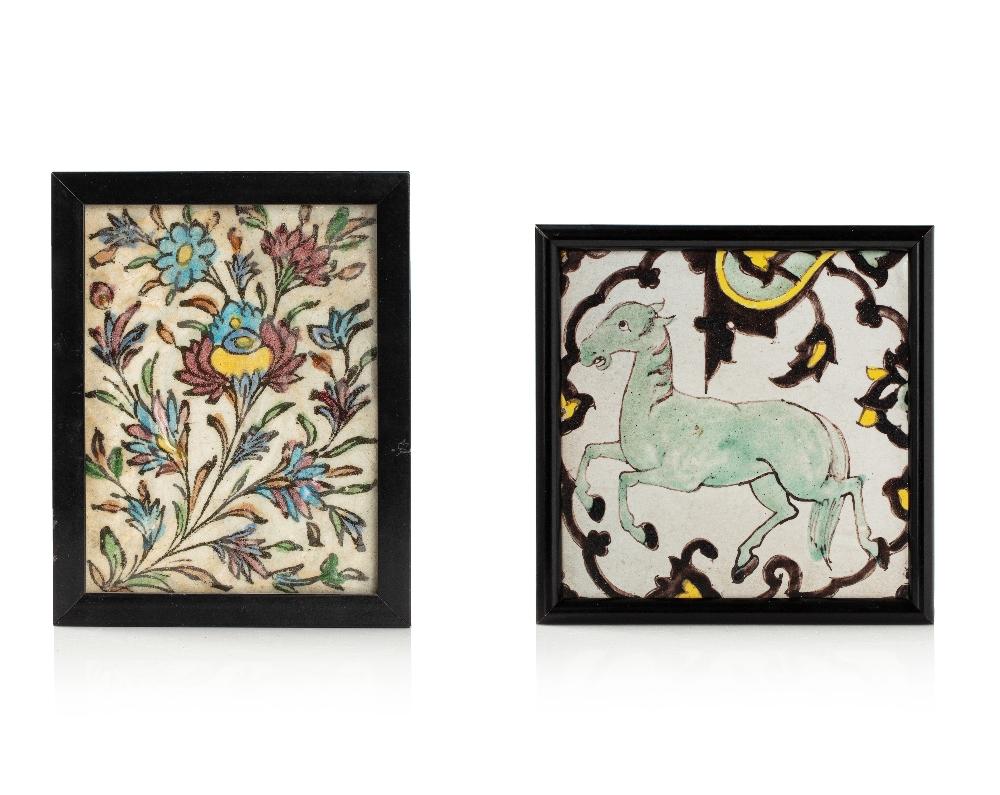 Deux carreaux QajarIran, fin du XIXe siècleEn céramique moulée à décor émaillé en polychromie sous