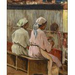 A. FONTANA ( Actif au XX ème siècle)Les fileusesHuile sur toile d'origine 54,5 x 45,5 cm Signé en