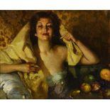 José CRUZ-HERRERA (La Linea de la Concepcion 1890-Casablanca 1972)Portrait de femme au voile