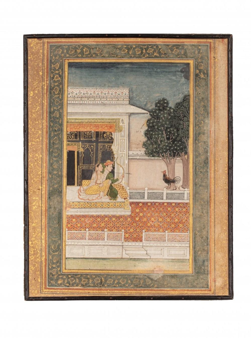 Scène GalanteInde, Seconde moitié du XVIIIe siècleGouache rehaussée d'or sur papier contrecollé