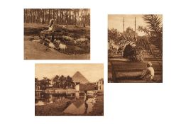 Lehnert, R. (1878-1948) & Landrock, E. (1878-1966).Trois vues d'EgypteCairo, Arab village near the