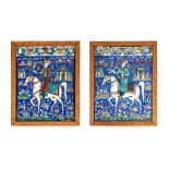 Deux carreaux au fauconnierIran, art Qajar vers 1880Grand carreaux de revêtement en céramique moulée