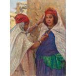 Fritz MULLER (1879-1957)Femmes des Ouled NaïlsHuile sur d'origine 40,5 x 30 cm Signé en bas à gauche