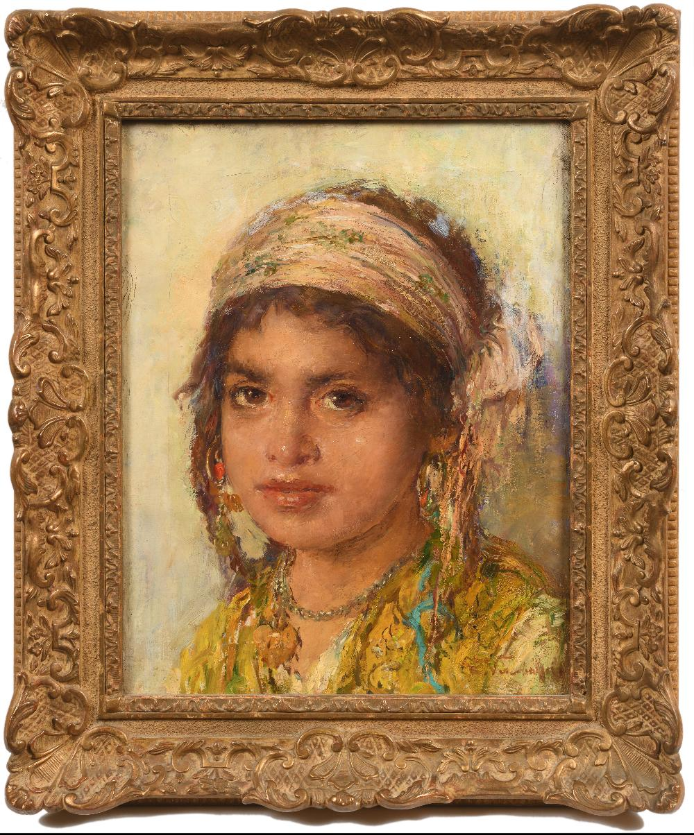 Edouard VERSCHAFFELT (Gand 1874- Bou Saâda 1955)Portrait de jeune filleHuile sur toile d'origine - Image 2 of 3