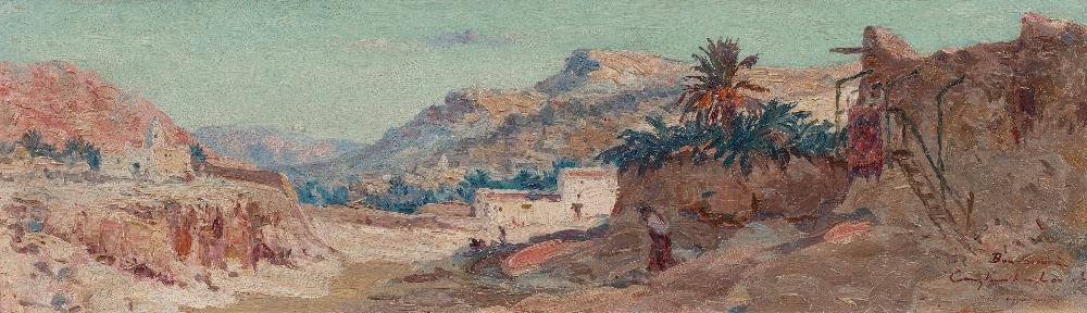 Constant LOUCHE (Alger1880 - Grenoble 1965)Bous SaâdaHuile sur isorel 30 x 100 cm Soigné et localisé