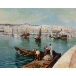 Maxime NOIRE (Guinglange 1861- Alger 1927)Dans le port d'AlgerHuile sur toile d'origine 57 x 73 cm