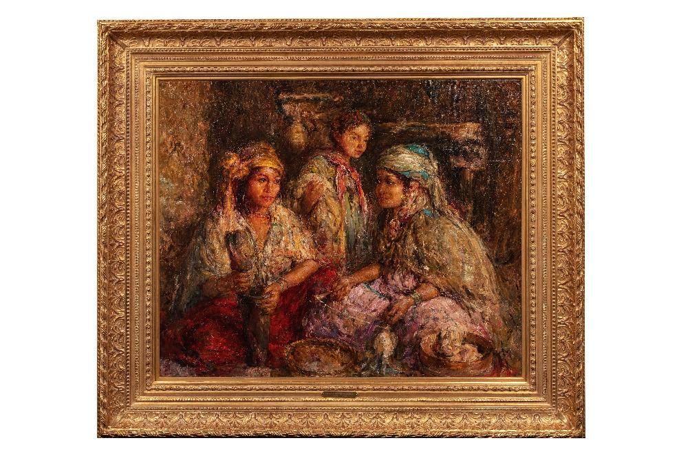 Edouard VERSCHAFFELT (Gand 1874 - Bou Saâda 1955)Les jeunes fileusesHuile sur toile 73 x 90 cm Signé - Image 2 of 3