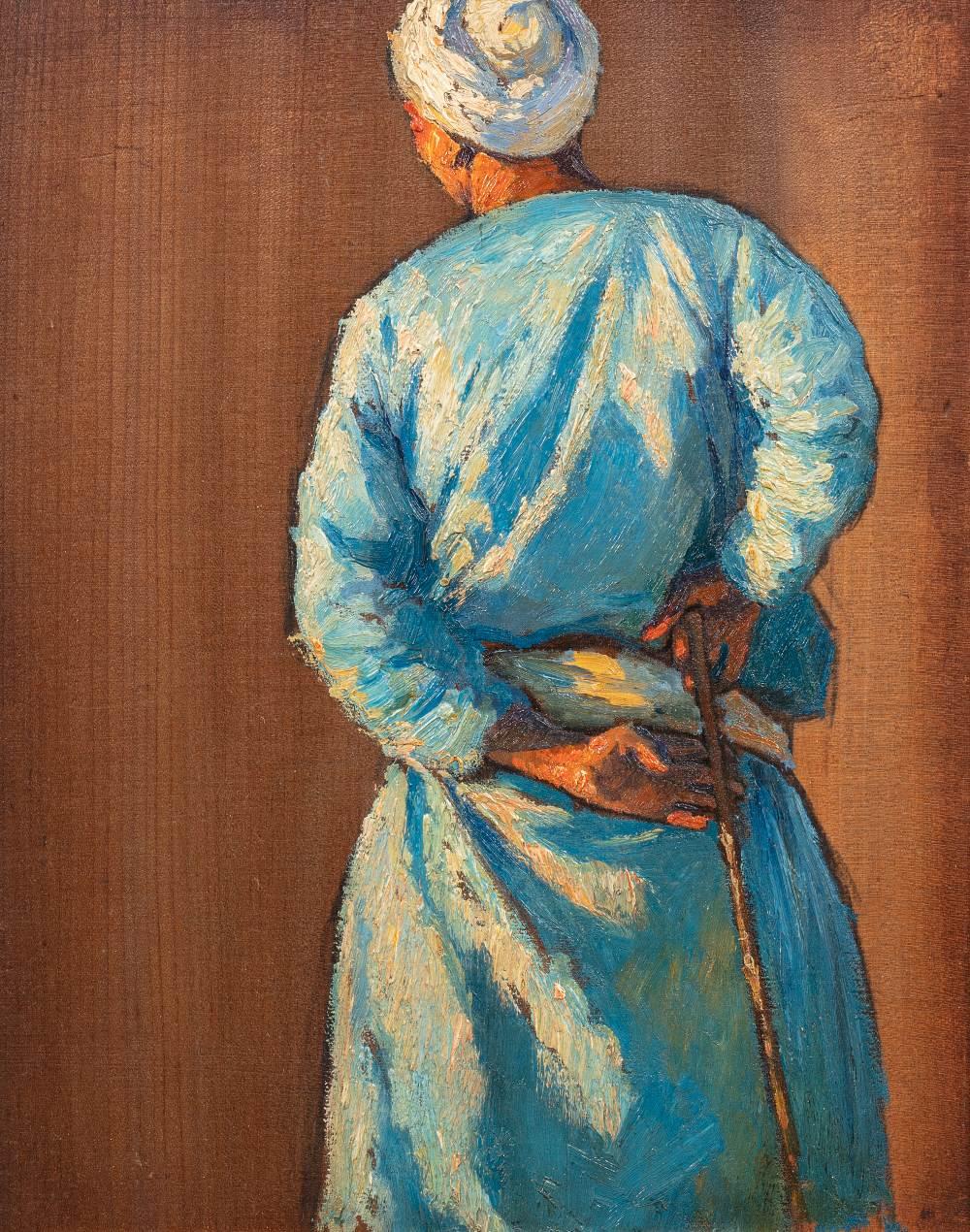 Ludwig DEUTSCH (Vienne 1855-Paris 1935)Homme de dos au bâtonHuile sur panneau 42 x 32 cm Non signé