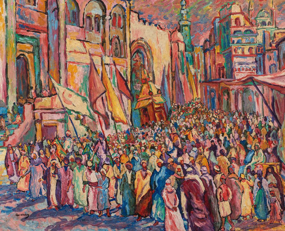 Pat WILSON (Actif au XX ème siècle)La procession du MahmalHuile sur carton 81 x 100 cm Signé en