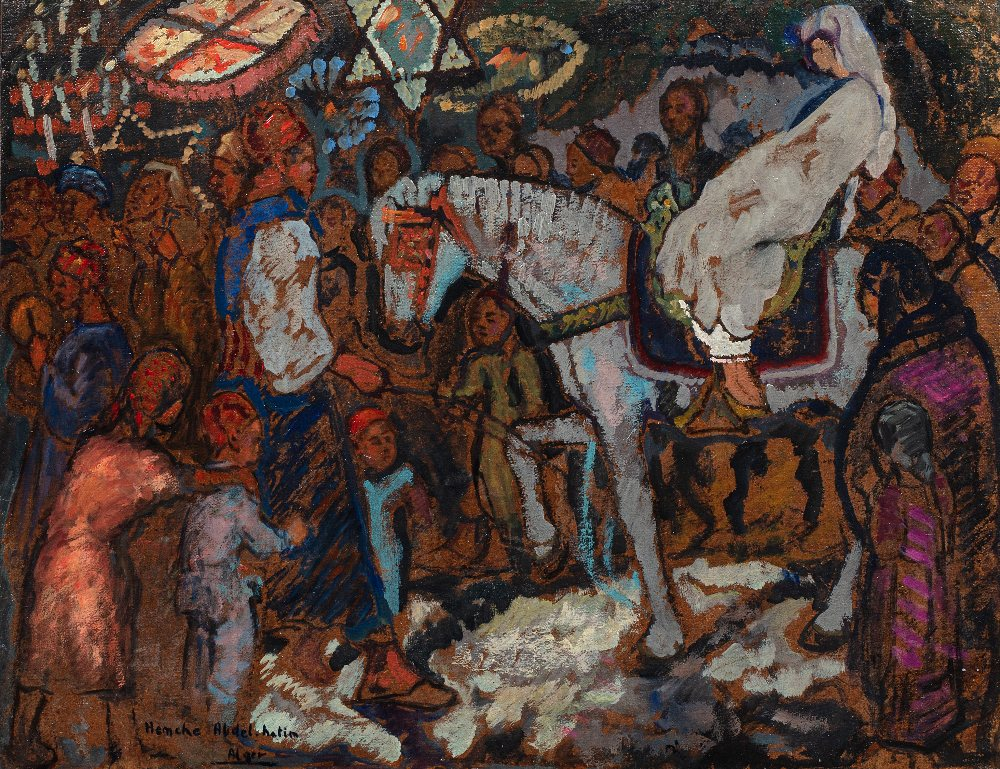 Abdelhalim HEMCHE (1908 Tlemcen - Paris 1979)Scène de mariage à AlgerHuile sur isorel 49,5 x 64 cm