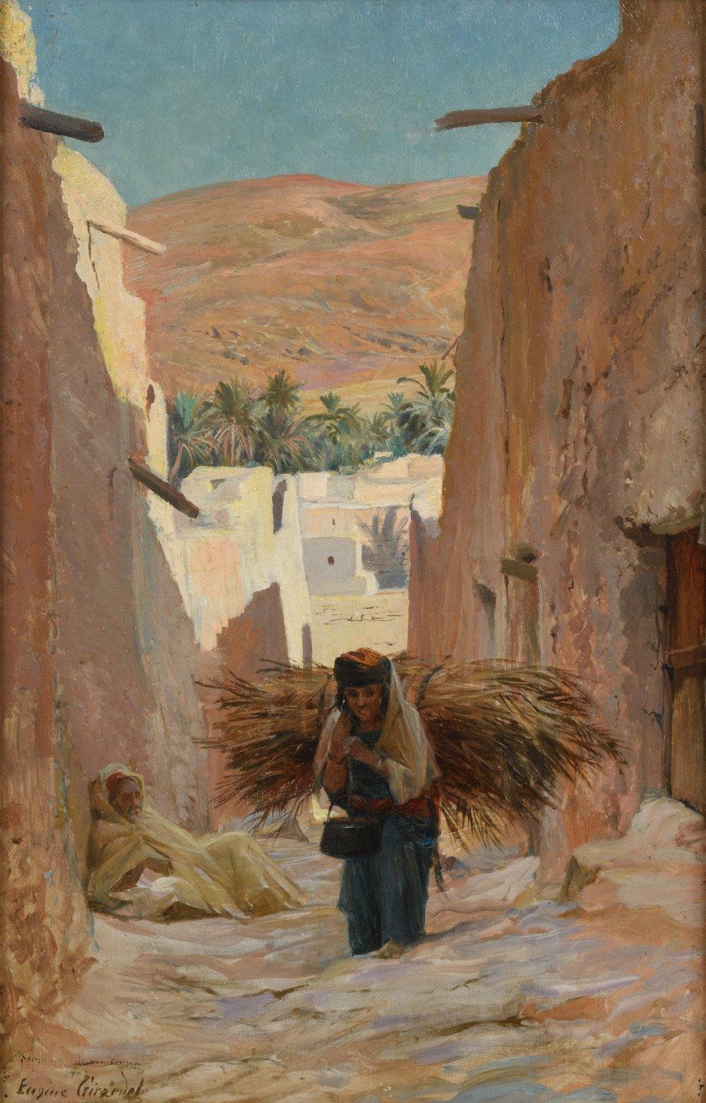 Eugène Alexis GIRARDET (Paris 1853-1907)Paysanne portant un fagotHuile sur panneau biseauté, une