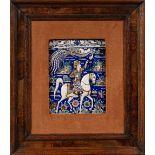 Grand carreau au phénixIran, vers 1880Important carreau de revêtement en céramique moulé à décor